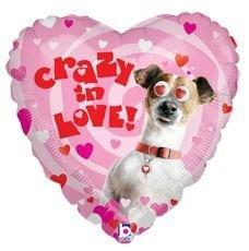 Crazy in love - Met bewegende hartjes ogen - Folie ballon18 inch/ 45cm
