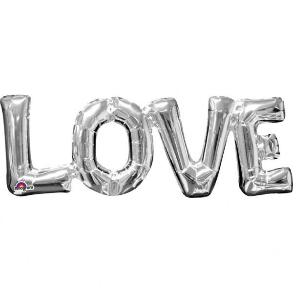 Love ballon - Zilver - Letters aan elkaar - Tekst Ballon -- Folie -  63 X 22 cm -  Lucht