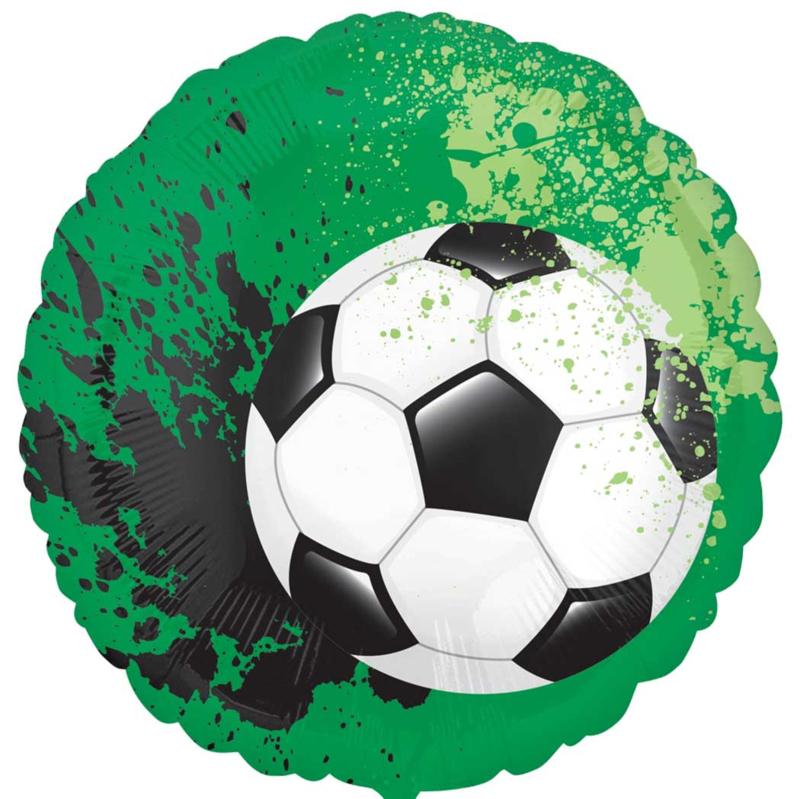 Voetbal op voetbalveld - FolieBallon - Zwart/Wit  - 17inch-43cm