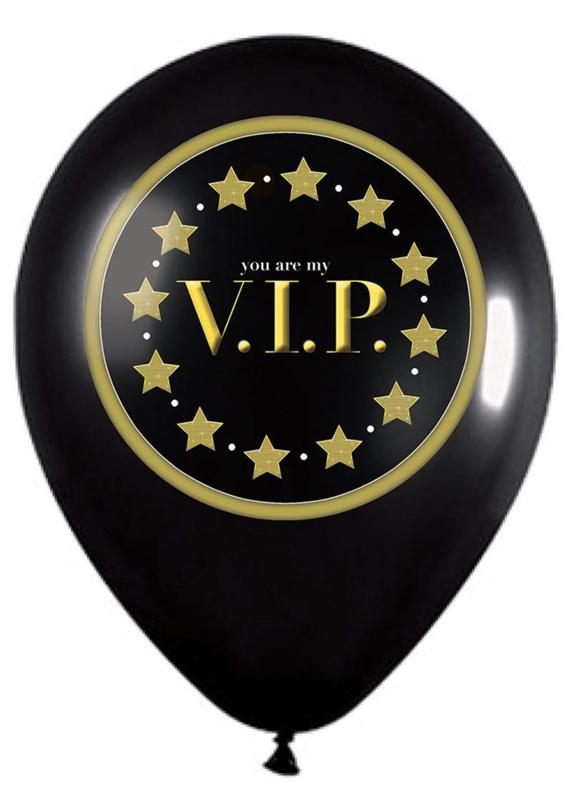 Latex ballon - You are my V.I.P. - Zwart / Goud- 12 Inch/30 cm - 5 st