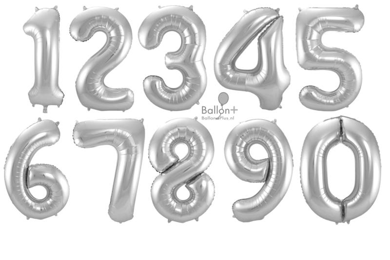 Cijfers - 1, 2, 3, 4, 5, 6, 7, 8, 9, 0 - Zilver - XXL Folie Ballon - Nummer - 34inch./86cm