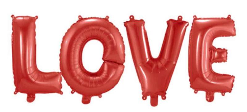 Love Ballon -Rood - Letters Los - Tekst Ballon - Folie - 14 Inch/36cm (lucht)