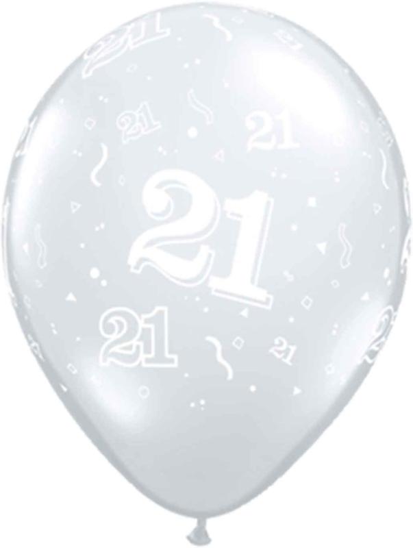 21 - Nummer - Doorzichtige - latex ballon - 11 Inch. / 27,5cm- 5st.
