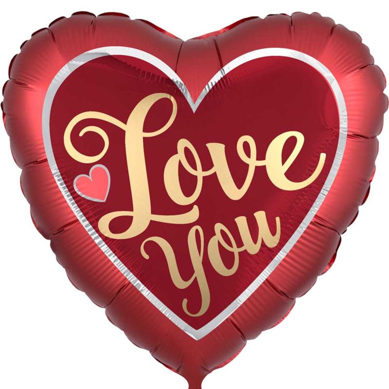 Love You - Folie Ballon - Satijn Rood met Love you in het Goud -XXL-28 Inch/71cm