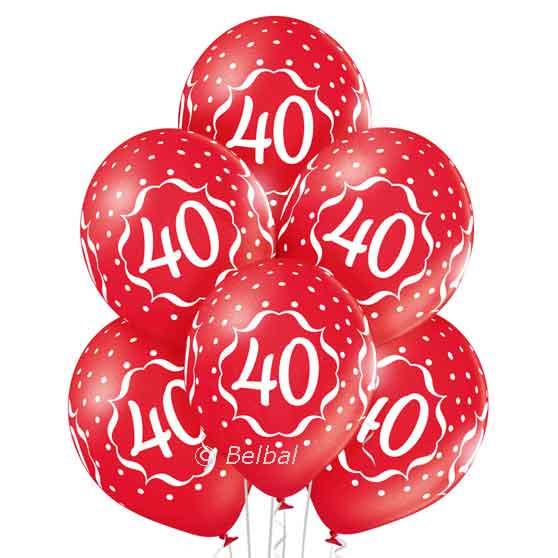 40 Jarig Jubileum - Rode Latex ballonnen - 12 Inch/30cm - 6 st.