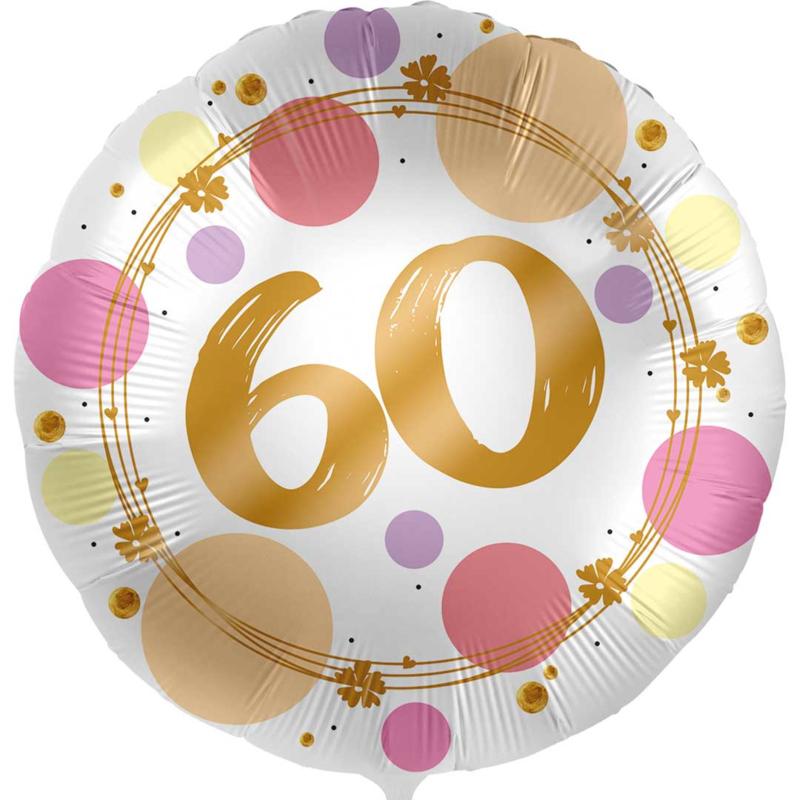 60 - Folie Ballon- rond - satijn wit met stippen in het roze/goud -18 inch /45cm