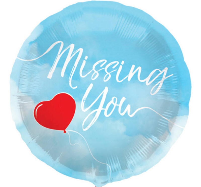 Missing You - Blauw met een Rood hartje - Folie Ballon - 18 Inch/45 cm