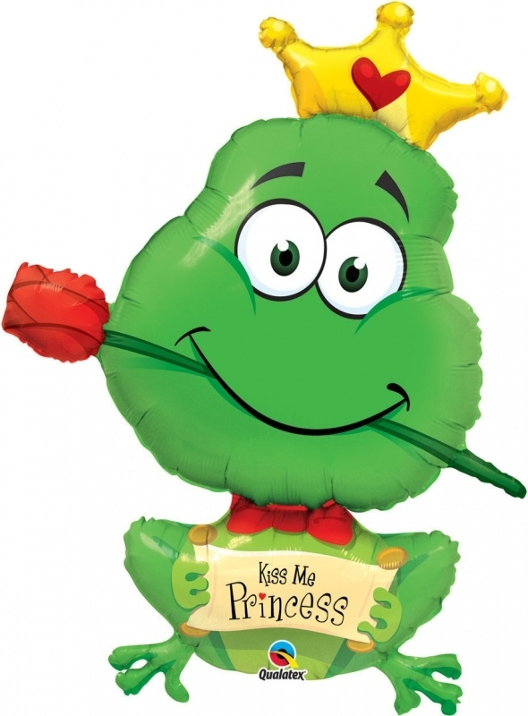 Kiss Me Prinsess - Kikker met Roos - XXL - Folie Ballon    - 39 inch/ 99cm