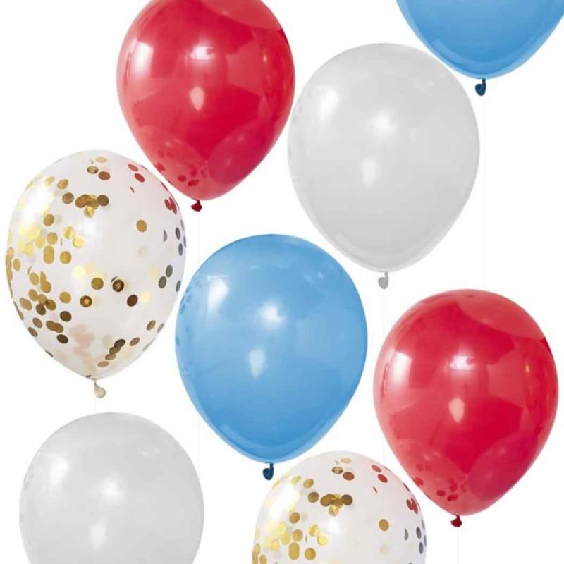 Koningsdag ballonnen set - Rood/ Wit/ Blauw / Confetti print -  12 Inch/30 cm - 8 st