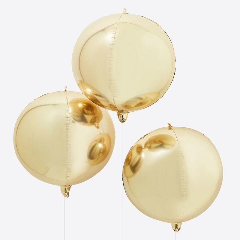 DIY : Gouden Ballonnen- Rond  -  22 Inch/ 56 cm - set van 3 st.