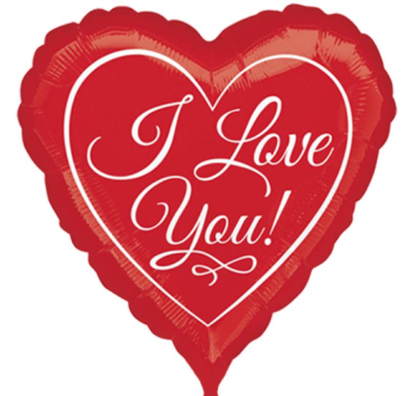 I Love You - Rode Hart Folie Ballon - 2 maten - 43 cm en 71 cm