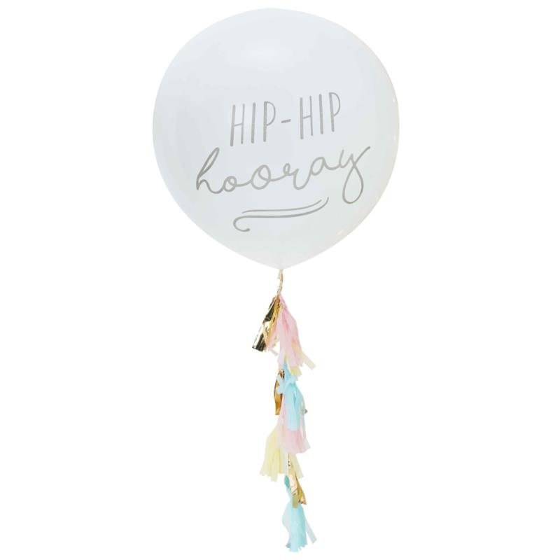 DIY - Grote Latex Ballon  - Wit - Hip Hip hooray - 36 Inch / 90 cm met tassels