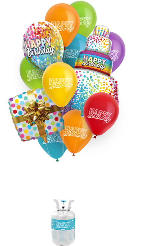 Helium Tank met Happy Birthday Ballonnen