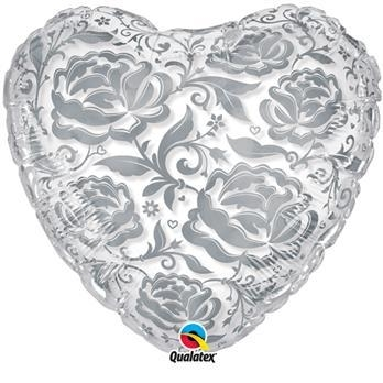 Roses -  transparante hartjes ballon - zilveren bloemen opdruk -24 inch