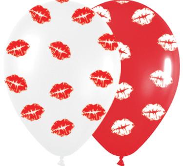 Kus Lippen - latex Ballon - Rood / Wit - 12 Inch / 30 cm  - 5 st
