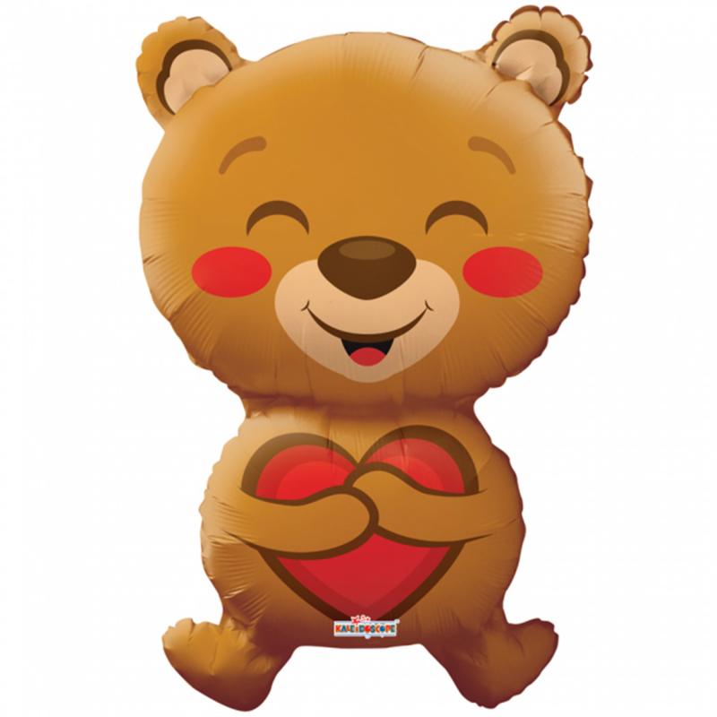 Love Beer- Bruine beer met rood hartje- XL Folie Ballon - 28 Inch/71 cm