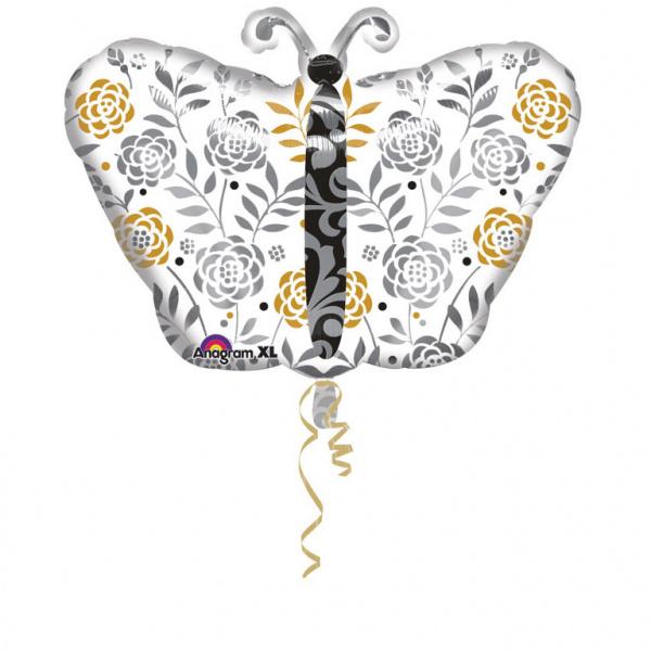 Vlinder - Wit/Zilver/ Goud - bloemen print - Folie ballon - L - 13 x 18 inch / 33 x 45 cm