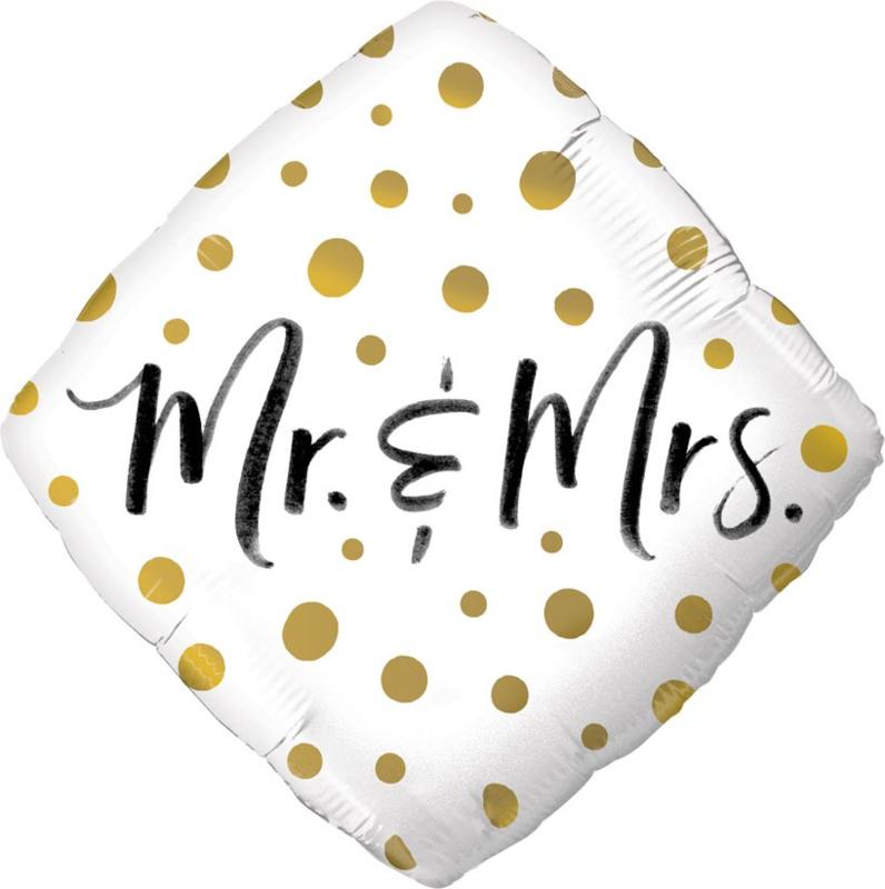Mr. & Mrs. - Trouwdag - Folie Ballon - 18 inch / 46 cm