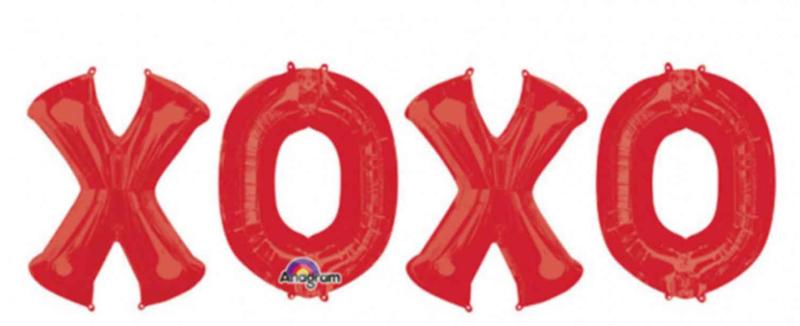 XOXO - Rood- tekst ballon - Folie Ballonnen slinger - 33 Inch/ 83 cm