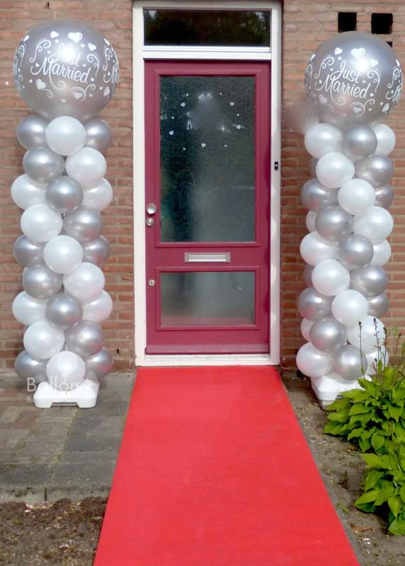 Ballonnen pilaar - standaard - Just Married! (Zilver & Wit)