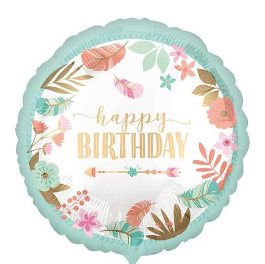 Happy Birthday - BoHo Chic Style - Folie ballon - 17 Inch/ 43 cm