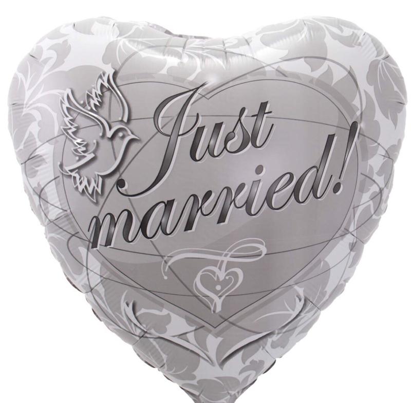 Just Married! - Zilver - Folie Ballon - 17 Inch/43cm