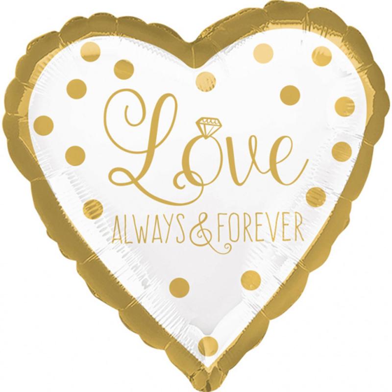Love Always & Forever - Goud / Wit -Hart  Folie Ballon - 17 Inch / 43 cm