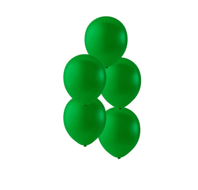 Donker groen kleurige ballonnen om te vullen met helium - Metallic - glans ballonnen - 30 cm - 5stk