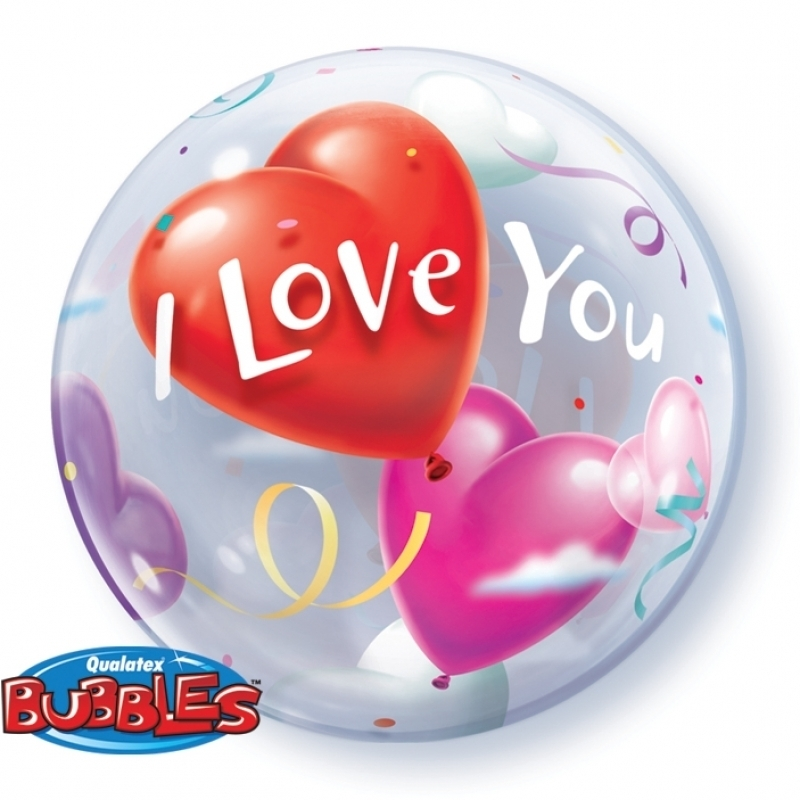 Bubble Ballon - I love You  - Gekleurde Harten - 22 inch/56cm