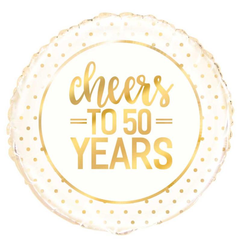 Cheers to 50 Years = Gouden Folie Ballon - Gouden Bruiloft- 50 jaar getrouwd - 18 Inch/ 45 cm