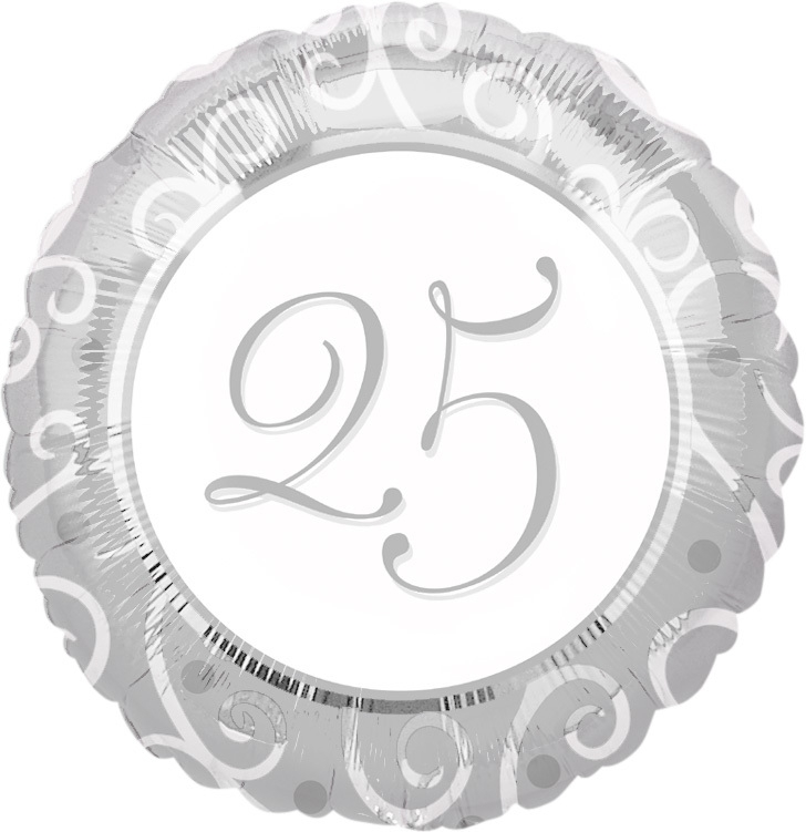 25 - Folie ballon -  zilver  - huwelijk - 18 inch/45cm