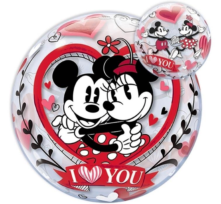 Disney Ballon - Mickey & Minnie Mouse - I Love You Bubble Ballon -22Inch/56cm
