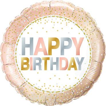 Happy Birthday - Pastel kleuren- Folie Ballon - confetti print - 18 inch/46 cm