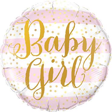 Baby Girl - Goud/ Roze/ Wit - Folie ballon - 18 Inch/ 46 cm