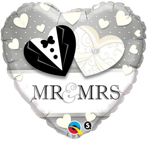 Mr Mrs Trouwdag Hart Folie Ballon 18 Inch 46