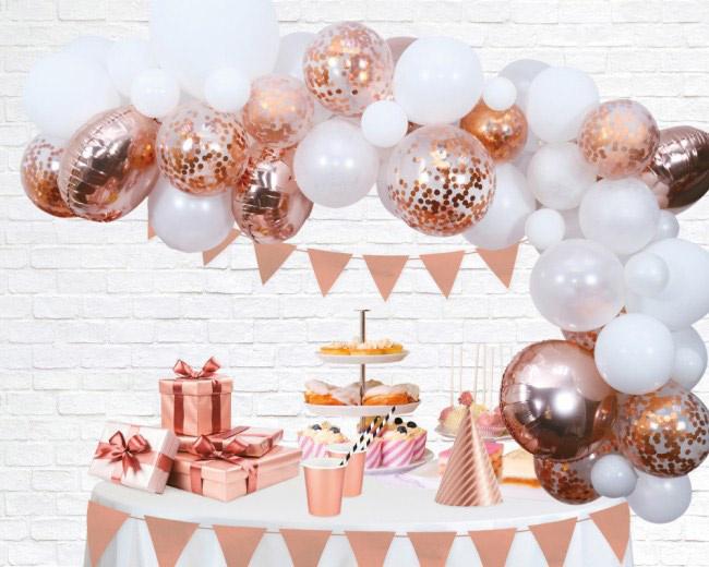 DIY: Rose Goud Ballonnen Boog / Slinger Set - Rose Goud/Wit Latex ballonnen