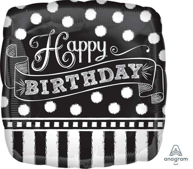 Happy birthday - Kalkbord - Zwart / Wit  - Folie Ballon - 17 inch/43cm