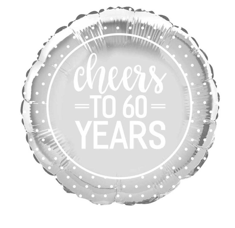 Cheers to 60 Years = Zilveren Folie Ballon - Diamante Bruiloft- 60 jaar getrouwd - 18 Inch/ 45 cm
