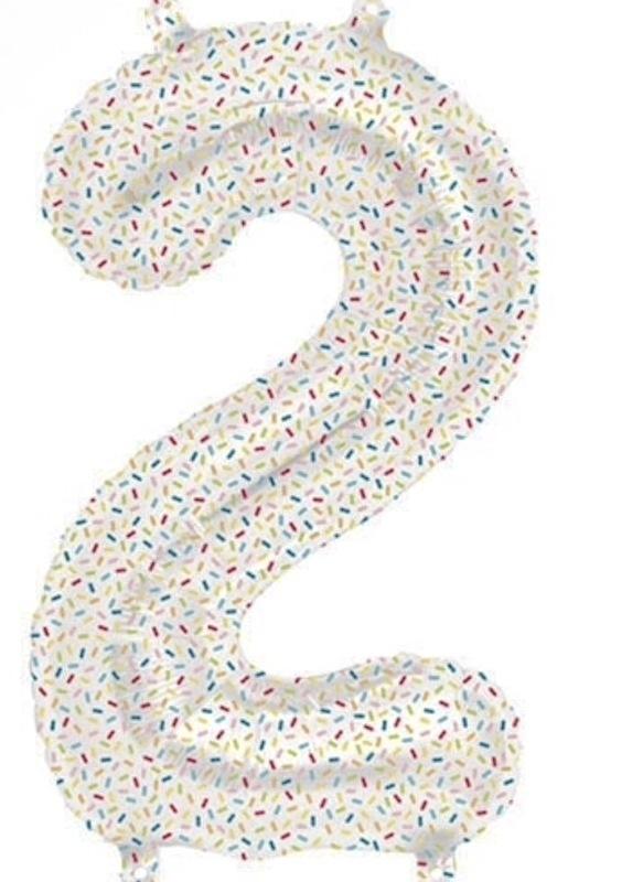 Cijfer - 2 - nummer - Spikkels - Div. Kleuren - Folieballon (lucht) - 16inch / 40 cm