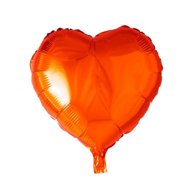 Hart - Oranje - Folie Ballon - 18 Inch/46cm