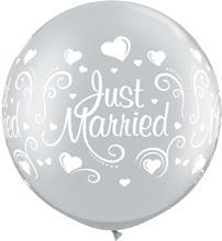 Just Married - Zilver - XXL - Latex Ballon - 30 inch / 75cm