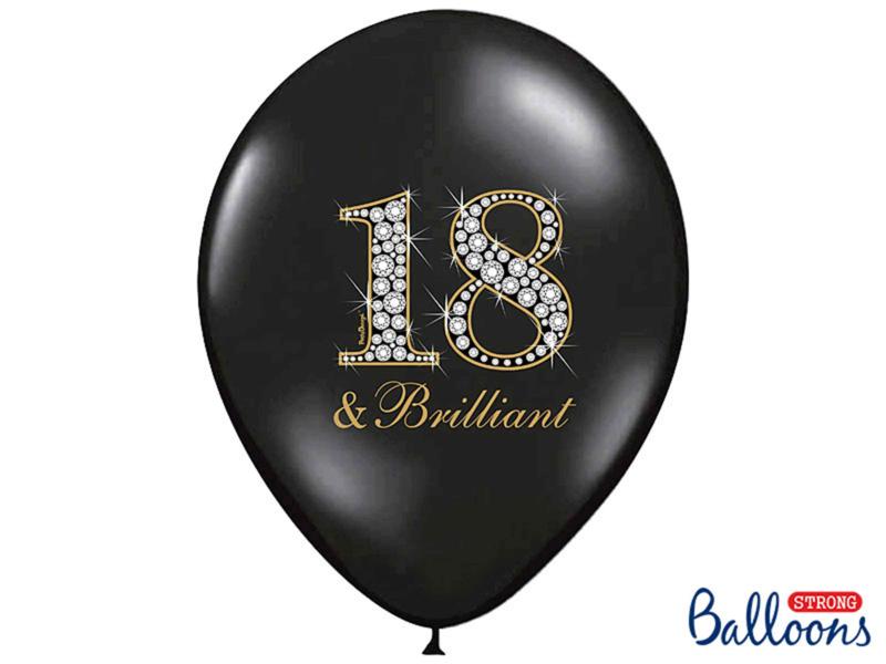 18 & Brilliant - Zwart, Goud Latex Ballon - 12 Inch/30 cm