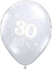 30 - Nummer - doorzichtig - latex ballon - 11 Inch. / 27,5 cm