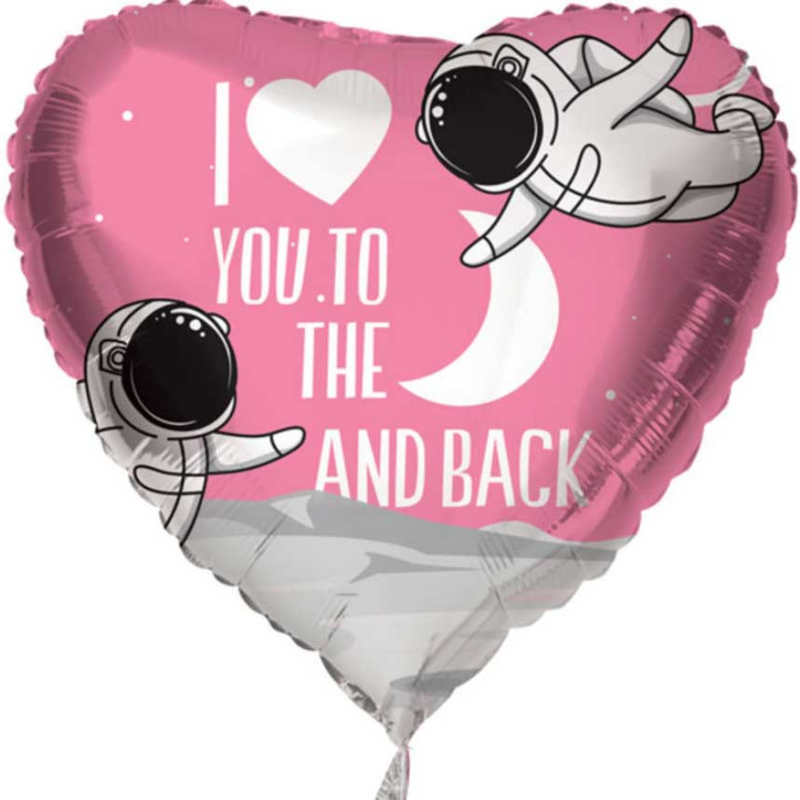 I Love You to the Moon and Back - Roze - Hart - Folie Ballon - 18 Inch/45 cm