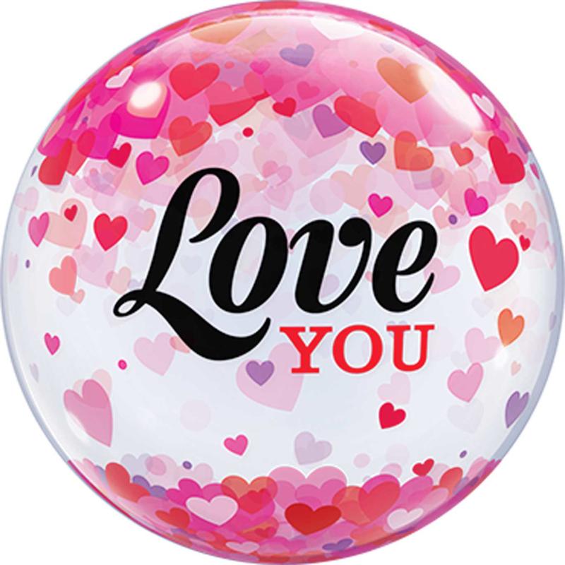 Love You - Confetti Hartjes Print - Bubbles - Ballon - 22 Inch/56 cm