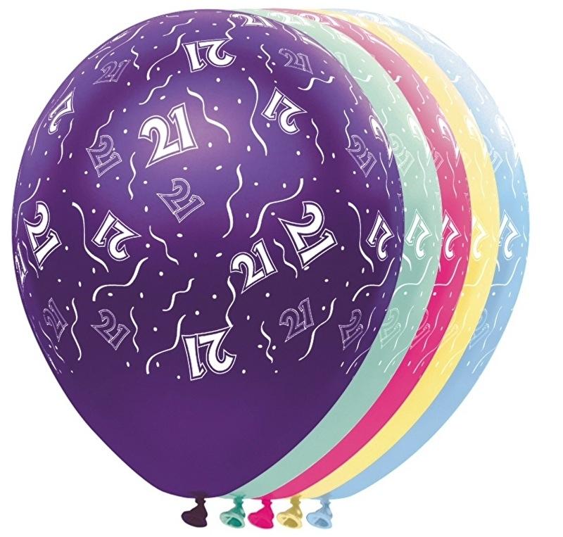 21 - Nummer - div. kleuren - latex ballon- 11 Inch. / 27,5