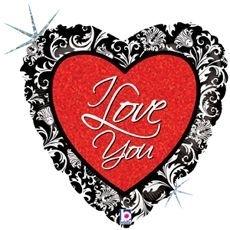 I love you - Folie hart ballon -  18 inch/45cm.