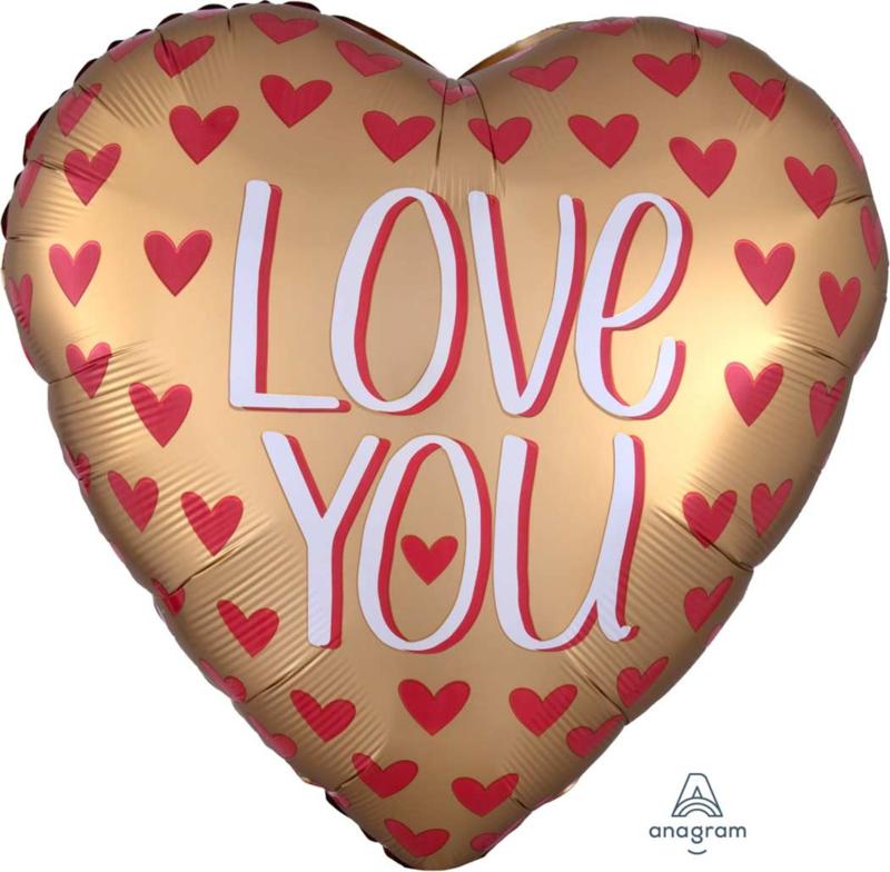 Love You -  -Gouden Hart Folie Ballon - 43cm of 71cm