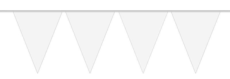 Wit - Vlaggenlijn - 15 vlaggen van 29 cm - 10 meter