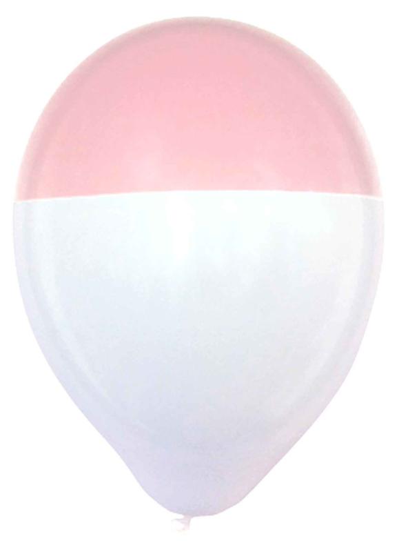 Latex ballon - Rose / Wit - Dip - 12 Inch/30 cm - 5 st